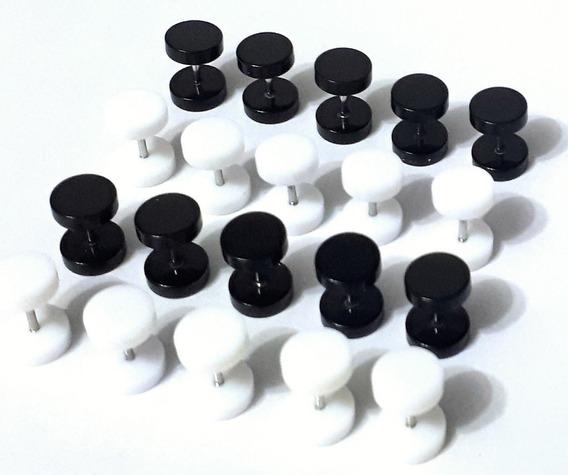 20 Falso Alargador 8mm Aço E Acrílico: 10 Pretos, 10 Brancos