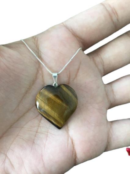 Colar Pedra Olho De Tigre Coração Cordão Prata 925 Cl63