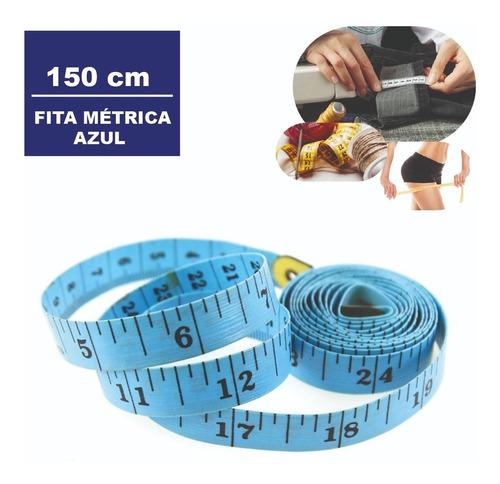 Imagem 1 de 7 de Fita Metrica Embalagem Plastica 150 Cm Cor:azul