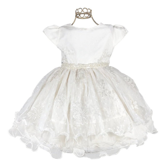 Oferta! Vestido Infantil Batizado Branco Renda Luxo Dama