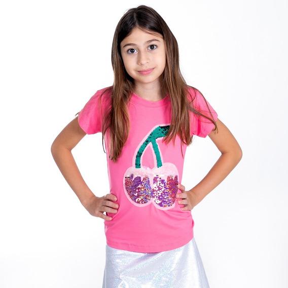 T-shirt Camiseta Meninas Lantejoula Que Muda De Cor Cereja