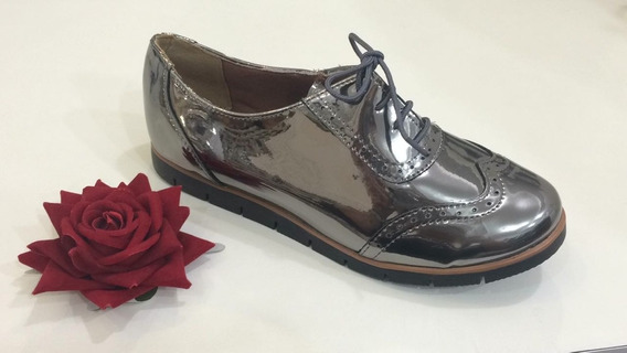 Sapato Tênis Oxford Feminino Verniz Pewter