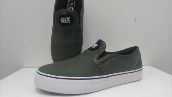 Tênis Qix Slim Vulcan 600955 Preto /verde Musgo