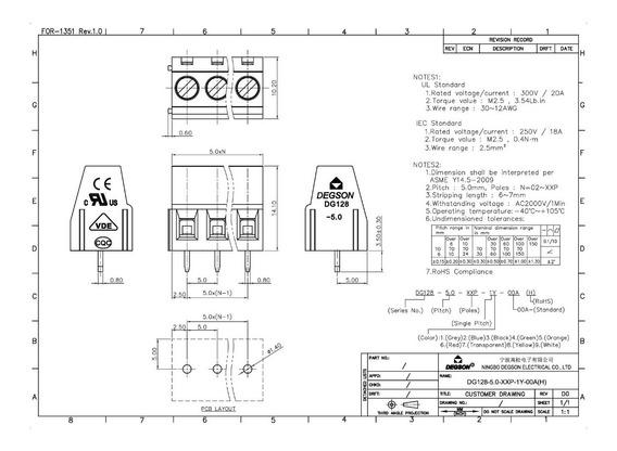 Bornera 2 Polos Apilables 10a 300v 26-14 Awg 2.5mm Azul X50