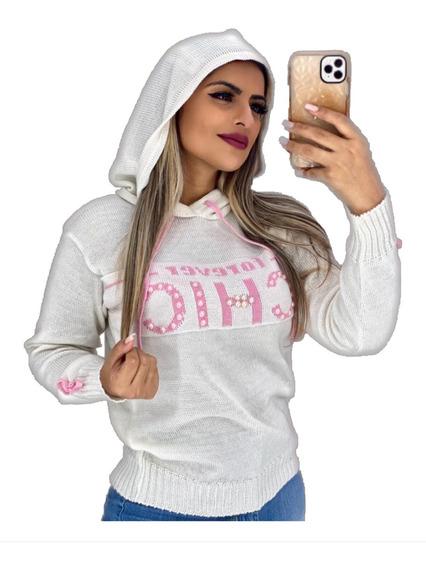 Blusa Suéter Trico Feminino Frio Capuz Chic Pérola Laço