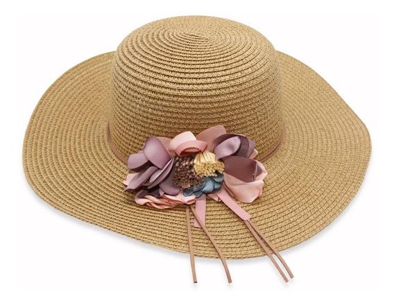 Sombrero Para El Sol De Ala Mediana De Mujer Con Flores.