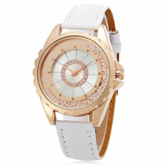 Relógio Feminino De Luxo Branco C/ Strass - Frete Grátis