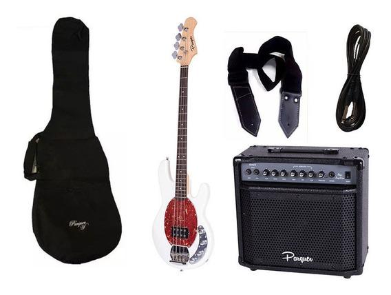 Combo Bajo Electrico Parquer Musicman Blanco Amplificador 20