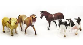 Set De Animales Macizos Grandes X4 Pesebre Caballo Vaca A101