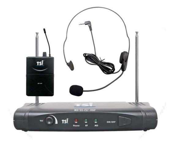 Microfone Tsi Ms125 Cli S/ Fio Vhf Auricular Igual Ms115 Cli