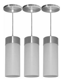 3 Pendente Lustre Veza Copo Luminária Alumínio Cone Promoção