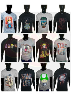 Promo 12 Remeras Comic Anime Gamer. Mayorista Del Xs Al Xxxl