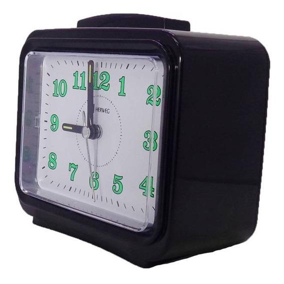 Relógio Despertador Herweg 2588 Preto C/ Dois Tipos Alarme J