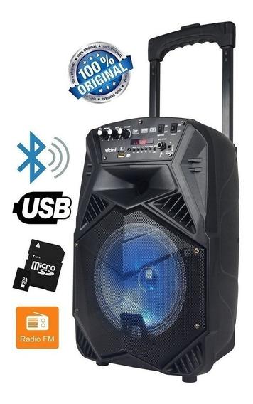 Caixa De Som Bluetooth 100w Rms Karaokê Rádio Fm Vc7101