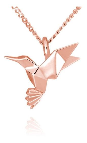 Dije Origami Colibrí De Plata Con Acabado En Oro Rosa