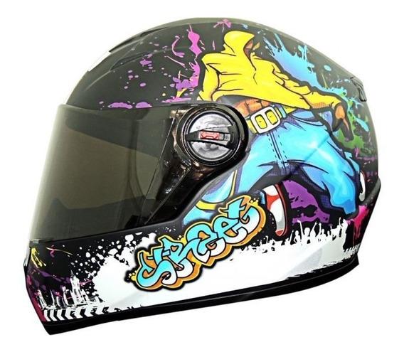 Capacete Moto Esportivo Fechado Gt Street Fw3 Viseira Crista