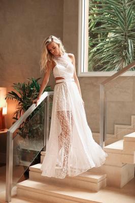 Vestido Branco Longo De Renda Com Decote