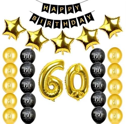 Kit Globos 60 Años Cumpleaños Fiesta Deco Reflex Metal