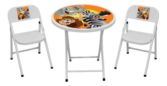 Conjunto Mesa Infantil C/2 Cadeira Dobrável Fantasia Redondo