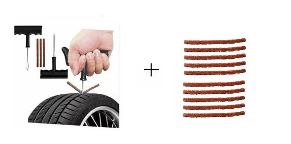 Kit Remendo P/ Reparo Pneu Carro Moto S/ Câmara + 10 Refil