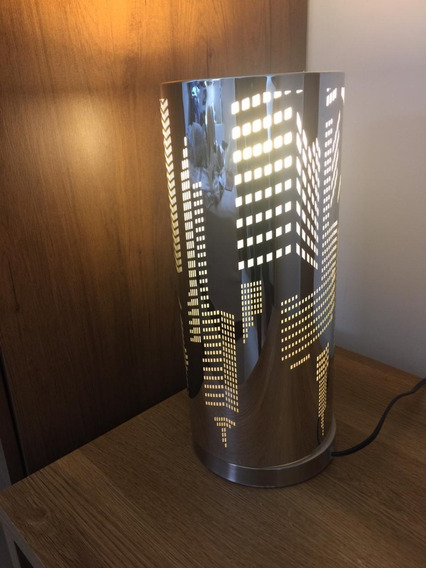 Abajur Luminária Decorativo Vazado De Inox 37,5 Cm Usado