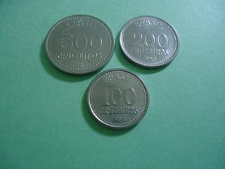 Moedas De 500 / 200 / 100 Cruzeiros De 1985 Aço Inox Lindas