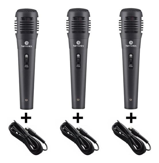 Kit 3 Microfones Com Fio Para Cantar Mdc101 Karaoke + Cabos