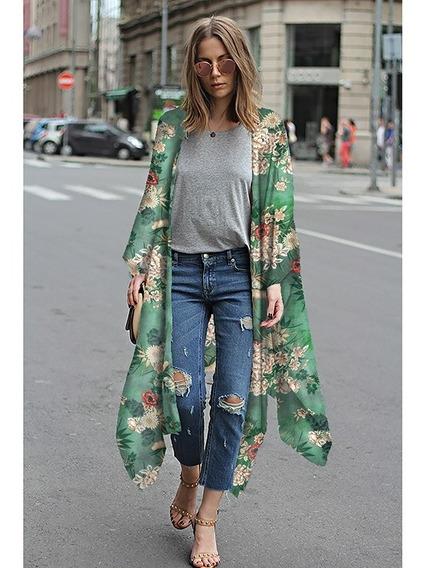 Nuevo Mujeres Gasa Kimono Rebeca Floral Leopardo Impresión