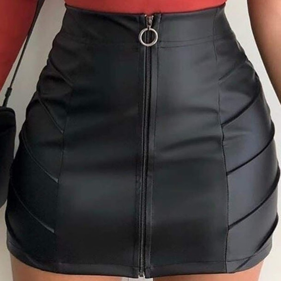 Saia Curta Detalhe Drapeado Com Ziper Frontal