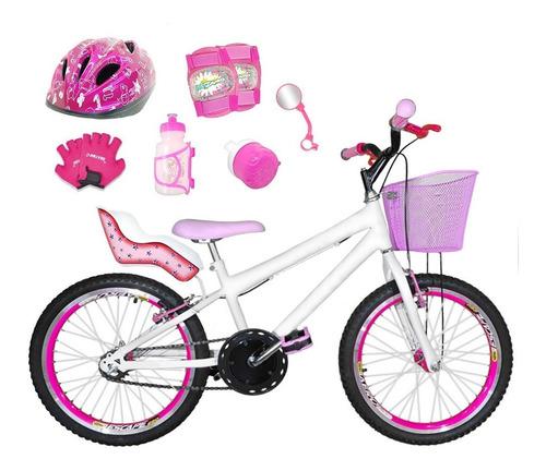 Imagem 1 de 1 de Bicicleta Aro 20 Branca Kit Aero Pink Completa Cfa3f