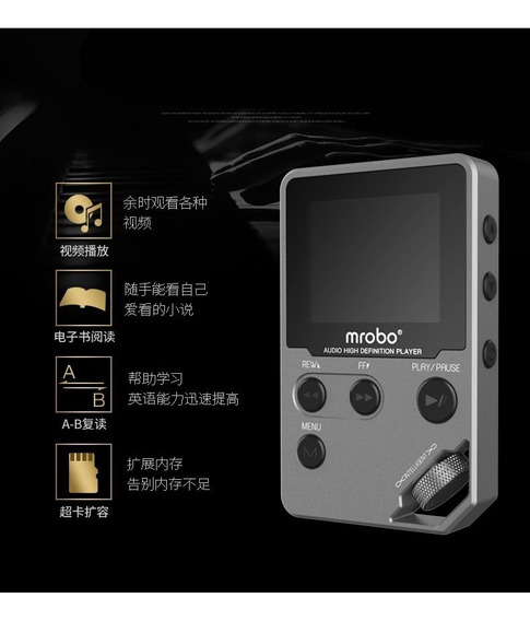 Rádio Fm Suporte Mp3 Player 8 Gb Mrobo Metal Multifunções
