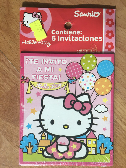 6 Invitaciones De Fiesta Hello Kitty