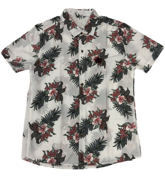 Camisa Masculina Casual Floral Estampa Havaiana Manga Curta