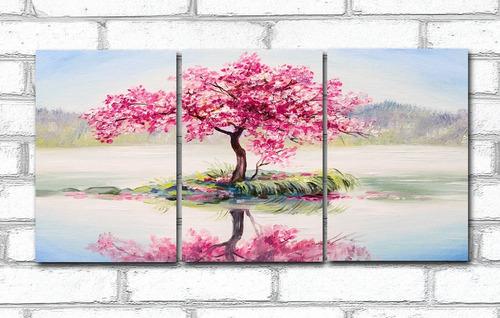 Imagem 1 de 4 de Quadro Decorativo Paisagem Árvore Rosa 60x120 3 Peças