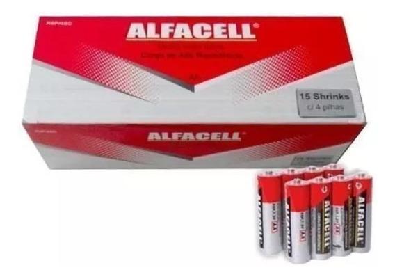 Caixa Pilha Alfacell Normal Comum Aa R6p 1,5v Atacado 60und