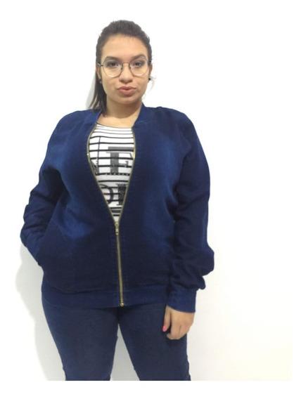 Jaqueta Jeans De Lycra Plus Size Fenimina