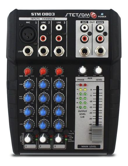 Mesa Som Stetsom Stm-0803 3 Canais Aux 12v Microfone Rca Top