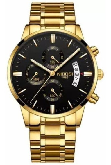 Relógio Nibosi Original Blindado Ouro C/ Ponteiro Funcional