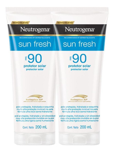 Kit 2 Protetor Solar Neutrogena Sun Fresh Loção Fps 90 200ml