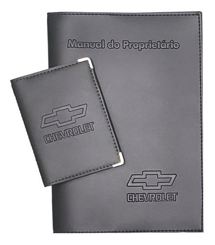Imagem 1 de 7 de Kit Chevrolet Porta Manual E Porta Documento Couro Eco