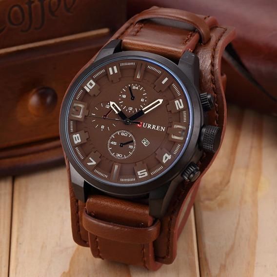 Relógio Masculino Curren Original De Alta Qualidade Em Couro