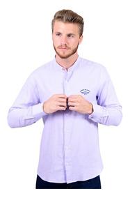 Camisa Portoblanco Lino Caballero Cuello Mao Lavanda E-559