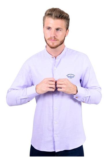 Camisa Portoblanco Lino Caballero Cuello Mao Lavanda