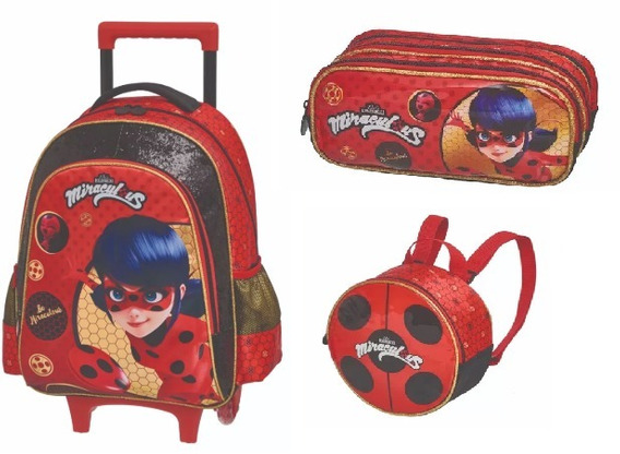 Kit Mochila Rodinha Lanch Est Triplo Miraculous Be Lady Bug Pacific