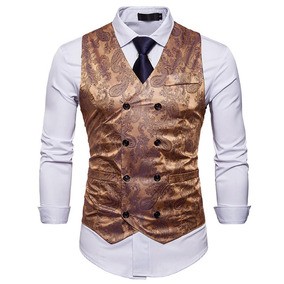 Colete Social Masculino Slim Fit Imprimir Suit Homens Moda