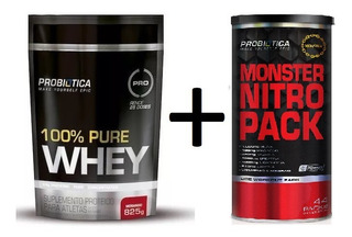 100% Pure Whey - 825g Refil + Monster Nitro Pack 44 Packs