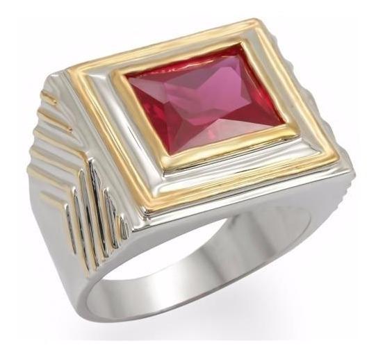 Anel Vermelho Rubi Masculino Aço Inoxidável Pedra Natural