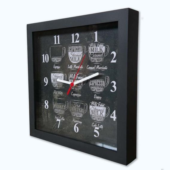 Relógio De Decorativo Caixa Alta Tema Café 28x28