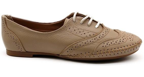 Sapato Casual Feminino Oxford Q&a Em Couro Amarrar - 15360