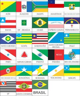 4 Und. Adesivo Bandeiras Estados Brasileiros 6,5x4,5cm A083